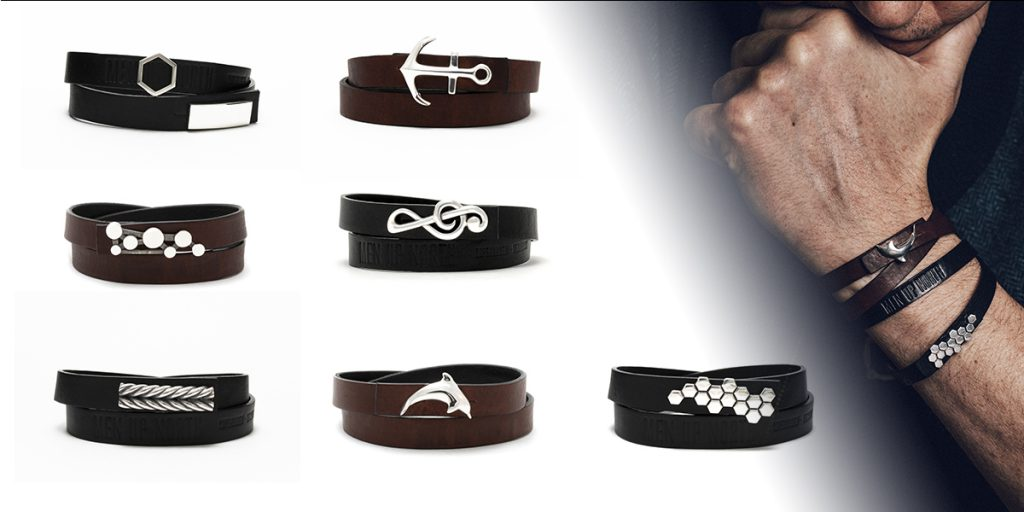 Leather bracelets with detachable sterling silver locks from Men Up North