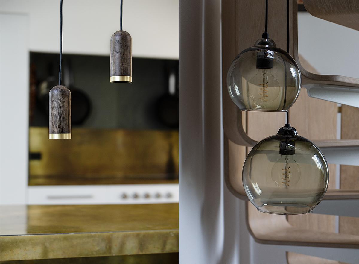 wood cylinder pendants and sphere glass pendants